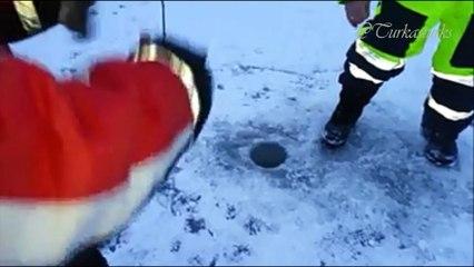 Buz üstünde balık tutmak-Drammen/Norveç