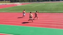 Sumo Wrestlers Running a Race
