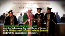 Sindh Governor Dr Ishrat Ul Ebad Khan conferred the Doctorate of Letters (Honoris Causa) degree on Syedna Burhanuddin.