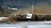 Antonov An 24 takeoff on runway MADE OF MUD Airbus A380 Boeing 747 can not do this
