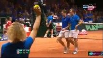 Full 3rd Set Federer/Wawrinka vs Gasquet/Beneteau Davis Cup 2014 Final