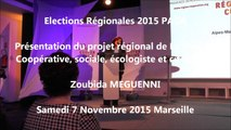 Zoubida-MEGUENNI  / Elections régionales  PACA/Meeting / 1er décembre 2015 / Marseille