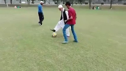 Football skills of old man