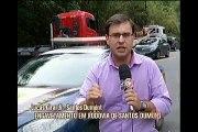 Acidente entre carretas e um carro, em Santos Dumont, deixa um morto e quatro feridos
