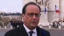Cérémonie militaire à l'Arc de Triomphe - Interview du président