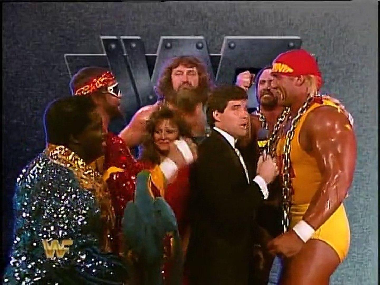 Team Mega Powers backstage with Sean Mooney