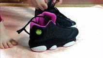 (HD) 100% Authentic Air Jordan Retro 13 black & pink unpacking review on feet