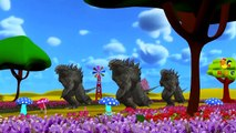 Finger Family Rhymes Dragons Godzilla Cartoons | Ringa Ringa Roses Children Nursery Rhymes