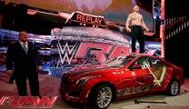 WWE RAW 2015 | Brock Lesnar destroys J&J Security's prized Cadillac | WWE Wrestling 2015