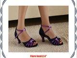 Abby Q-6120 Womens Latin Tango Cha-cha Ballroom Party 2.4 Flared Heel Dance Shoes Blue UK Size6