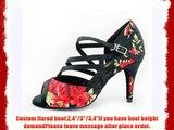 Abby Q-6107 Womens Latin Tango Cha-cha Ballroom Custom Heel Dance Shoes Black UK Size1.5