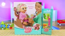 BABY ALIVE Furniture With Story Time Rocking Chair Set & Baby Lucy Doll Eats + Poops in Di