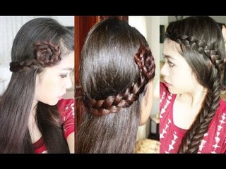 Easy Quick & Chic Everyday/Party Hair Tutorial Lace Braid Rosette Side Bun and Fishtail Mashup