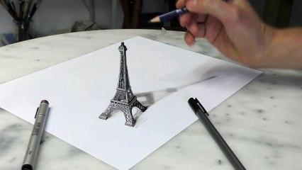 Paris Eiffel Tower 3D Drawing/ Optical Illusion
