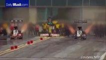 Terrifying Moment Race Car Breaks In Half At 280 Mph