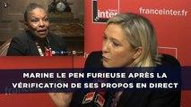 Marine Le Pen furieuse après la vérification de ses propos en direct