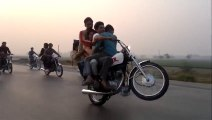 Owsome bike wheeling OMG! with 4 persons without driver - One Wheeling in Pakistan 3 - HDEntertainment