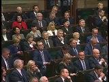 Prezydent RP Andrzej Duda przemawia na pierwszym posiedzeniu Sejmu