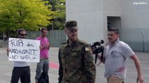 Anti NATO Flashmob in front of the office of Chancellor Merkel in Berlin. August 8th |Eng