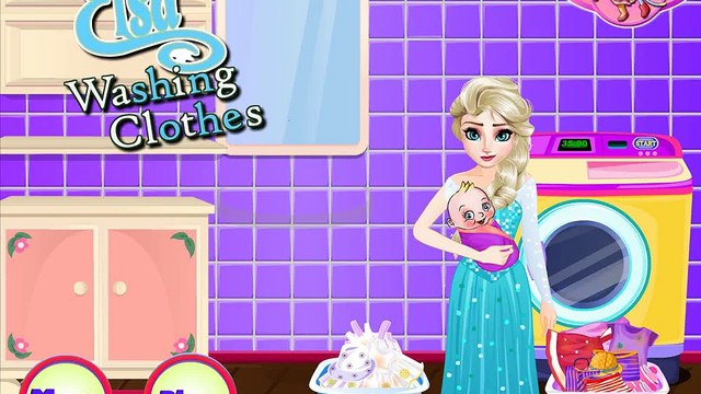 Beautifull Disney Princess Elsa Frozen Elsa Washing Clothes For Newborn NEW Video For Girl