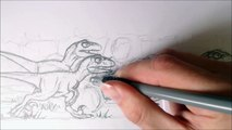 Drawing Cartoon Running Raptor Pack Squad Part 2 Drawing Last Raptor And Background