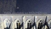 Eglise Saint Symphorien à Montjean sur Loire vue par drone en automne