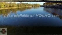 Pont de Chalonnes sur Loire vu par drone en automne, Pays de La Loire, France  (4)
