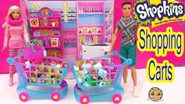Shopkins Season 3 LARGE SHOPPING CART + 4 Exclusive Shopkins with Barbie Dolls Cookieswirl