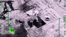 Combat cam- Massive bombardment of ISIS oil refineries, tankers by Russian warplanes