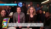 Adele performs 'Hello' with Jimmy Fallon, The Roots, and classroom instruments