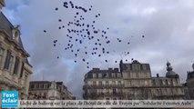 Un lâché de ballons en hommage aux 134 femmes et 35 enfants décédés en 2014 des suites de violences au sein du couple