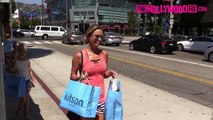 Steven Gerrards Wife Alex Goes Shopping With Daughters At Kitson 9.8.15 TheHollywoodFix.c