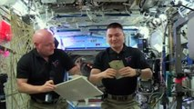 NASA astronauts celebrate thanksgiving in space