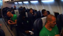 Dans l'avion du retour avec les Verts !