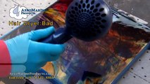 Don't use a hair dryer to remove air bubbles in epoxy