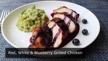 Le rouge, le Blanc et le Bleuet de Poulet Grillé Épicé Chili Frotté Poulet à lAigre Doux Blueberr
