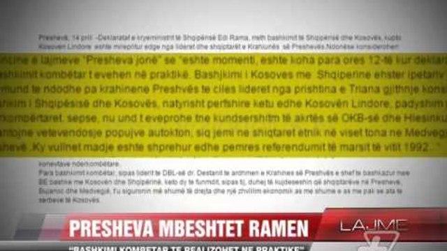 Liderët e Preshevës për deklaratën e Ramës - News, Lajme - Vizion Plus