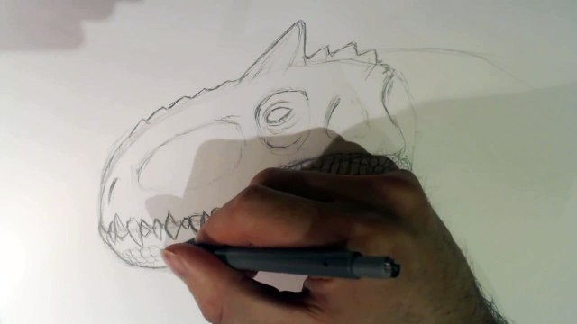 How To Draw and Scale Indominus Rex Head Part 2 Scales.