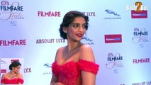 Sonam Kapoor Looks Cute in a red hot gown at Filmfare Glamour and Style Awards 2015