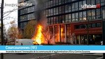 Incendie à Courcouronnes devant l'immeuble de la communauté d'agglo