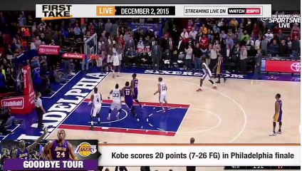 ESPN First Take - Kobe Bryant s Last Performance in Philly Lakers Finale