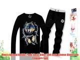 Men's Animal Gothic Punk Rock Biker Soft Long Sleeve Black Tee Trousers Suit