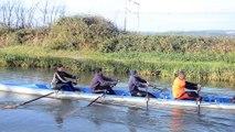 Initiation  des rameurs de la rame traditionelle  a l aviron et vice verca pour les rameurs de narbonne aviron club a la rame traditionelle