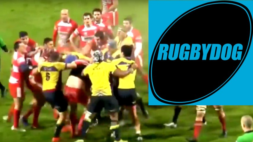 Brutal French rugby brawl after bad tackle
