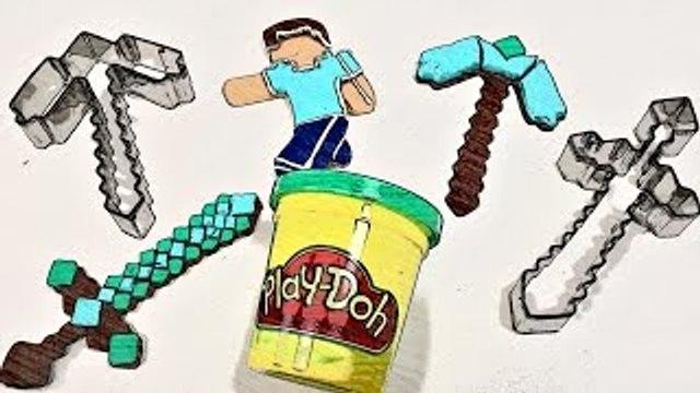 MINECRAFT Play Doh Cookie Cutters - - - How to make playdough Diamond Steve