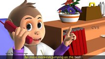 Five Little Monkeys Jumping on the bed - 3D Animation English Nursery rhyme for children