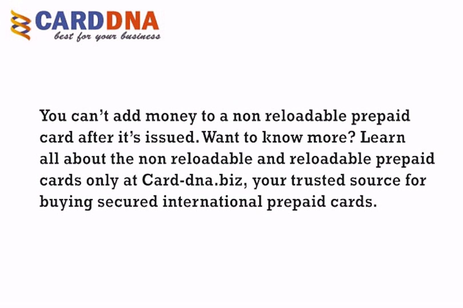 Reloadable Prepaid Cards >> Non Reloadable Prepaid Card