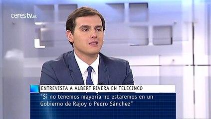 """Rivera: """"Si no tenemos mayoría no estaremos en un Gobierno de Rajoy o Pedro Sánchez"""""""