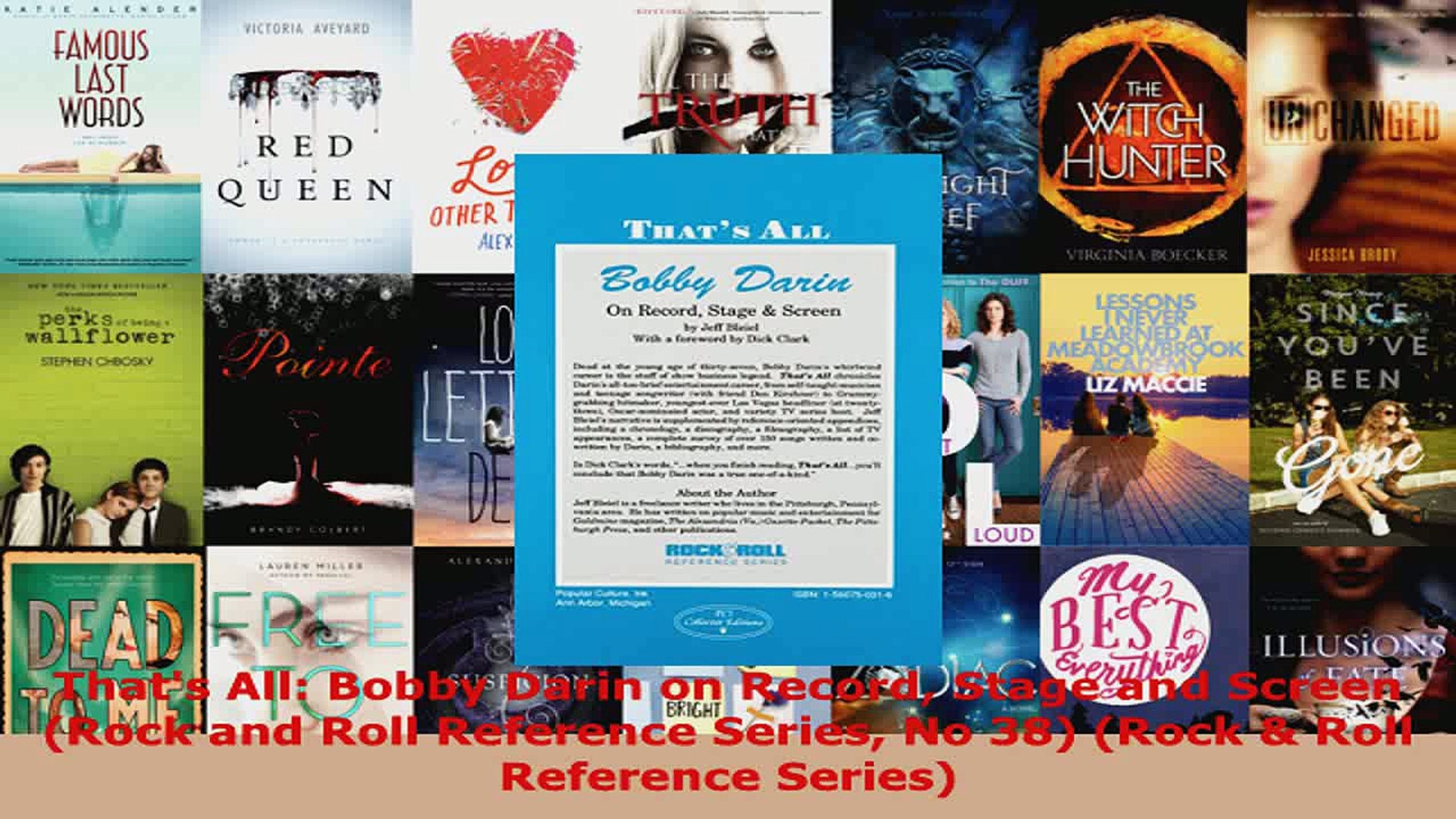 Read  Thats All Bobby Darin on Record Stage and Screen Rock and Roll Reference Series No 38 PDF Onli