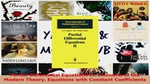 PDF Download  Partial Differential Equations II Elements of the Modern Theory Equations with Constant Download Online
